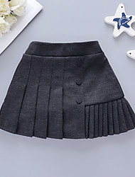 cheap -Baby Girls' Basic Solid Colored Pleated Skirt Black