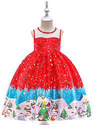 cheap -Ball Gown / Princess Knee Length Flower Girl Dress - Tulle / Poly&Cotton Blend Sleeveless Jewel Neck with Bow(s) / Lace / Pattern / Print