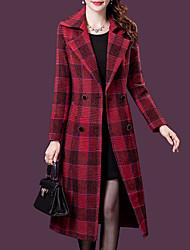 cheap -Women's Daily / Birthday Vintage / Sophisticated Fall & Winter Long Coat, Geometric Peaked Lapel Long Sleeve Nylon Print Wine