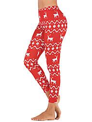 cheap -Women's High Waist Yoga Pants Winter Christmas Black Royal Blue Red Elastane Running Fitness Gym Workout Tights Leggings Sport Activewear Butt Lift Tummy Control Power Flex High Elasticity Slim