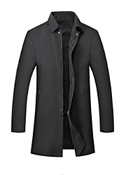 cheap -Men's Daily Fall Regular Jacket, Solid Colored Stand Long Sleeve Polyester / Others Black
