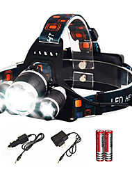 cheap -Headlamps Headlight Waterproof 6000 lm LED Emitters 4 Mode with Batteries and Charger Waterproof Camping / Hiking / Caving Everyday Use Diving / Boating AU EU USA Black / Aluminum Alloy / US Plug