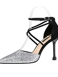 cheap -Women's Heels Glitter Crystal Sequined Jeweled Stiletto Heel Pointed Toe Sequin Synthetics Classic / Minimalism Fall / Spring & Summer Red / Gold / Black / Party & Evening / 3-4 / Party & Evening