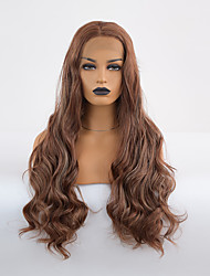 cheap -Synthetic Lace Front Wig Body Wave Bouncy Curl Middle Part Lace Front Wig Long Chocolate Synthetic Hair 18-24 inch Women's Cosplay Heat Resistant Classic Black Brown / Natural Hairline