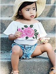 Χαμηλού Κόστους -Μωρό Κοριτσίστικα Καθημερινό / Ενεργό Rose Μονόχρωμο Κεντητό Αμάνικο Μακρύ Σετ Ρούχων Ανθισμένο Ροζ