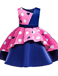 cheap -A-Line Medium Length Party / Pageant Flower Girl Dresses - Satin / Poly&Cotton Blend Sleeveless V Wire with Belt / Bow(s) / Pattern / Print