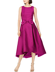 cheap -A-Line Jewel Neck Tea Length Satin Elegant Cocktail Party / Holiday Dress with Bow(s) 2020