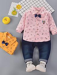 cheap -Baby Boys' Basic Print Long Sleeve Regular Regular Clothing Set Blushing Pink