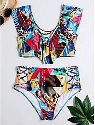 abordables -Femme Basique Blanche Vert Triangle Slip Brésilien Taille haute Bikinis Maillots de Bain - Fleur Dos Nu A Volants Imprimé XL XXL XXXL Blanche