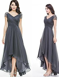 cheap -A-Line V Neck Asymmetrical Chiffon Elegant Prom Dress 2020 with Beading / Ruched
