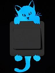 Недорогие -Животные Наклейки Светящиеся наклейки Фото наклейки, PVC Украшение дома Наклейка на стену Переключения Украшение 1шт