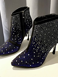 cheap -Women's Boots Stiletto Heel Pointed Toe Rhinestone / Sparkling Glitter Suede Booties / Ankle Boots Business / Vintage Spring &  Fall / Fall & Winter Black / Blue / Party & Evening