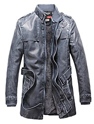 cheap -Men's Daily Fall & Winter Regular Leather Jacket, Solid Colored Stand Long Sleeve PU Black / Yellow / Blue