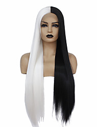 cheap -Synthetic Lace Front Wig Straight Taylor Middle Part Lace Front Wig Long Black / White Synthetic Hair 22-26 inch Women's Heat Resistant New Design Hot Sale Black White / Glueless