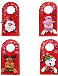 cheap -4pcs Non-Woven Fabrics Fabric Door Hanging Christmas Atmosphere Christmas Decoration