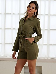 cheap -Women's Street chic Army Green Romper, Solid Colored S M L