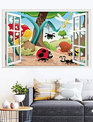 cheap -Cartoons Cute Insects Wall Stickers - Landscape Wall Stickers / Plane Wall Stickers Characters Study Room / Office / Dining Room / Kitchen