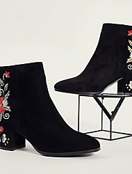 cheap -Women's Boots Print Shoes Chunky Heel Pointed Toe Suede Booties / Ankle Boots Winter White / Red