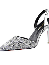 cheap -Women's Wedding Shoes Crystal Sandals Stiletto Heel Pointed Toe Sequin Synthetics Sweet / Minimalism Spring &  Fall / Spring & Summer Red / Champagne / Blue / Party & Evening