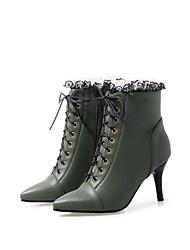 cheap -Women's Boots Stiletto Heel Pointed Toe PU Fall Black / White / Green