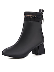 cheap -Women's Boots Chunky Heel Pointed Toe Faux Leather Booties / Ankle Boots Classic Fall & Winter Black