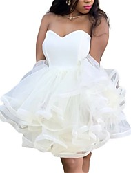 cheap -Women's Skater Dress - Solid Colored White S M L XL
