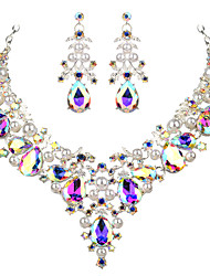 cheap -Women's Clear White AAA Cubic Zirconia Collar Necklace Chandelier Heart Fashion Elegant Rhinestone Earrings Jewelry Transparent / White For Wedding Engagement Holiday 1 set