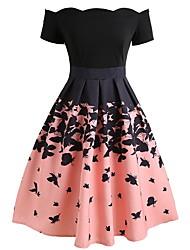 cheap -Women's A-Line Dress Knee Length Dress - Short Sleeve Color Block Off Shoulder Hot Elegant Party Blushing Pink S M L XL XXL