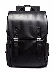cheap -Large Capacity PU Buttons Commuter Backpack Solid Color School Black / Khaki