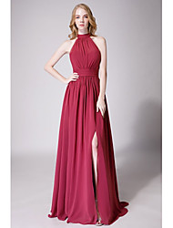 cheap -A-Line Halter Neck Floor Length Chiffon Bridesmaid Dress with Ruching / Pleats