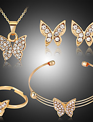cheap -Women's Jewelry Set Bridal Jewelry Sets 3D Butterfly Fashion Gold Plated Earrings Jewelry Gold For Christmas Wedding Halloween Party Evening Gift 1 set
