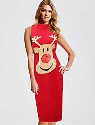 cheap -Women's Christmas Party Daily Basic Sheath Dress - Animal Deer, Print White Red S M L XL