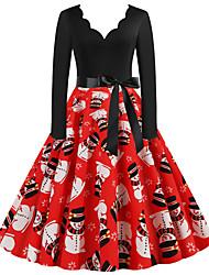 cheap -Women's A Line Dress - Long Sleeve Color Block V Neck Basic Christmas Party Daily Wear Red S M L XL XXL XXXL