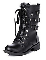 cheap -Women's Boots Block Heel Round Toe Rivet / Buckle PU Mid-Calf Boots Vintage / Casual Spring &  Fall / Fall & Winter Black