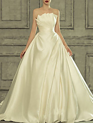 cheap -A-Line Strapless Court Train Satin Strapless Made-To-Measure Wedding Dresses with Ruched 2020