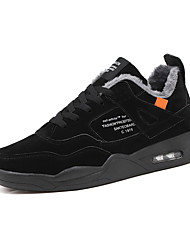 cheap -Men's Comfort Shoes Leather Winter Sporty / Casual Athletic Shoes Running Shoes / Walking Shoes Warm Black / White / Gray