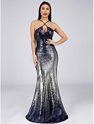cheap -Mermaid / Trumpet Spaghetti Strap Floor Length Sequined Elegant Formal Evening Dress with 2020