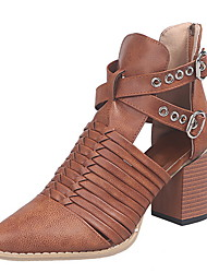 cheap -Women's Boots Chunky Heel Pointed Toe PU Fall Light Brown