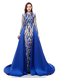 cheap -Ball Gown Sparkle Blue Prom Formal Evening Dress Jewel Neck Long Sleeve Court Train Sequined with Overskirt Pattern / Print Appliques 2020