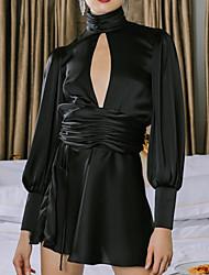 cheap -Women's Elegant Sheath Dress - Solid Colored Black S M L