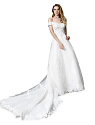 cheap -A-Line Off Shoulder Chapel Train Tulle Cap Sleeve Made-To-Measure Wedding Dresses with Beading / Appliques 2020