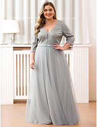 cheap -A-Line Plus Size Grey Wedding Guest Formal Evening Dress V Neck Half Sleeve Floor Length Satin Tulle with Pleats Sequin 2020