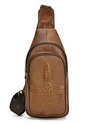 cheap -Men's Zipper Cowhide Sling Shoulder Bag Solid Color Dark Brown / Brown / Black
