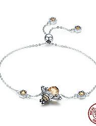 cheap -Women's Diamond Silver Bracelets Retro Bee Luxury Fashion Cute Glass Bracelet Jewelry Silver For Wedding Gift Daily School Street / S925 Sterling Silver
