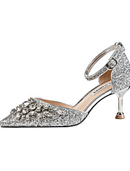 cheap -Women's Wedding Shoes Stiletto Heel Pointed Toe Crystal / Sequin / Buckle Synthetics Minimalism Spring & Summer Black / Champagne / Gold / Party & Evening