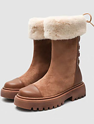 cheap -Women's Boots Low Heel Round Toe Faux Leather Mid-Calf Boots Fall & Winter Black / Brown / Party & Evening