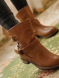 cheap -Women's Boots Flat Heel Round Toe PU Mid-Calf Boots Winter Brown