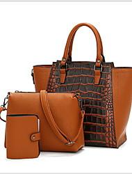 ราคาถูก -สำหรับผู้หญิง PU ชุดกระเป๋า สีทึบ ชุดชอปปิ้ง 3 ชิ้น สีดำ / ไวน์ / สีเหลือง
