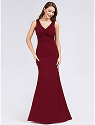 cheap -Mermaid / Trumpet V Neck Floor Length Polyester Formal Evening Dress with by LAN TING Express