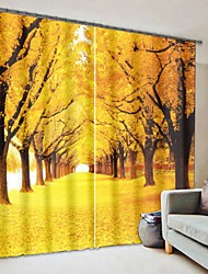 cheap -Golden Yellow Fallen Leaves Road Digital Printing 3D Curtain Shading Curtain Gigh Precision Black Silk Fabric High Quality Curtain